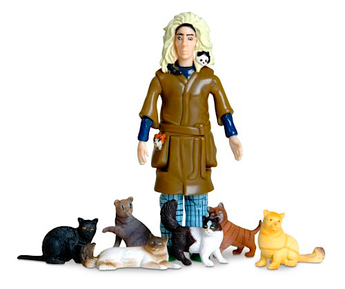 CRAZY CAT LADY ACTION FIGURE TOY WITH 6 CATS GAG GIFT NEW ...